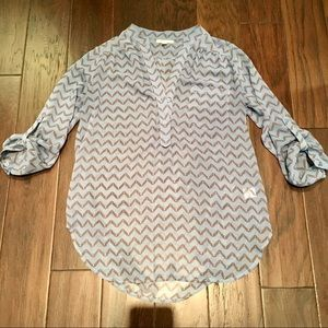 Pleione Blue Sheer 3/4 Sleeve Top Shirt V Blouse S